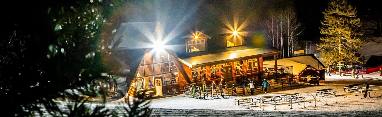 Beaver Mountain Lodge at night