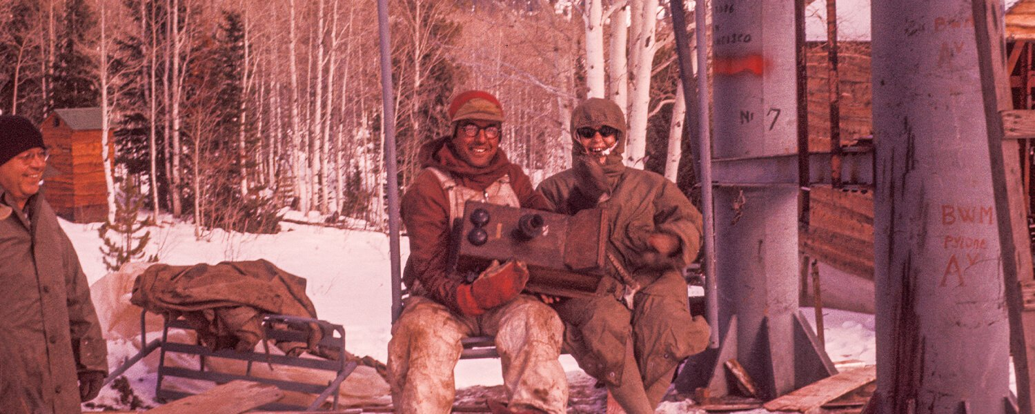 Beaver Mountain historical photo of two chairlift riders