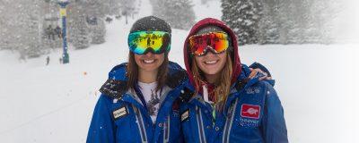 Two Beaver Mountain staff members wearing ski goggles