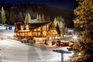 Lodge lit at night